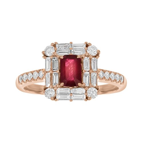 SERA 18K Gold Ring with VS-VVS Diamonds & Red Ruby
