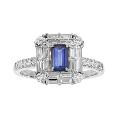SERA 18K Gold Ring with VS-VVS Diamonds & Blue Sapphire